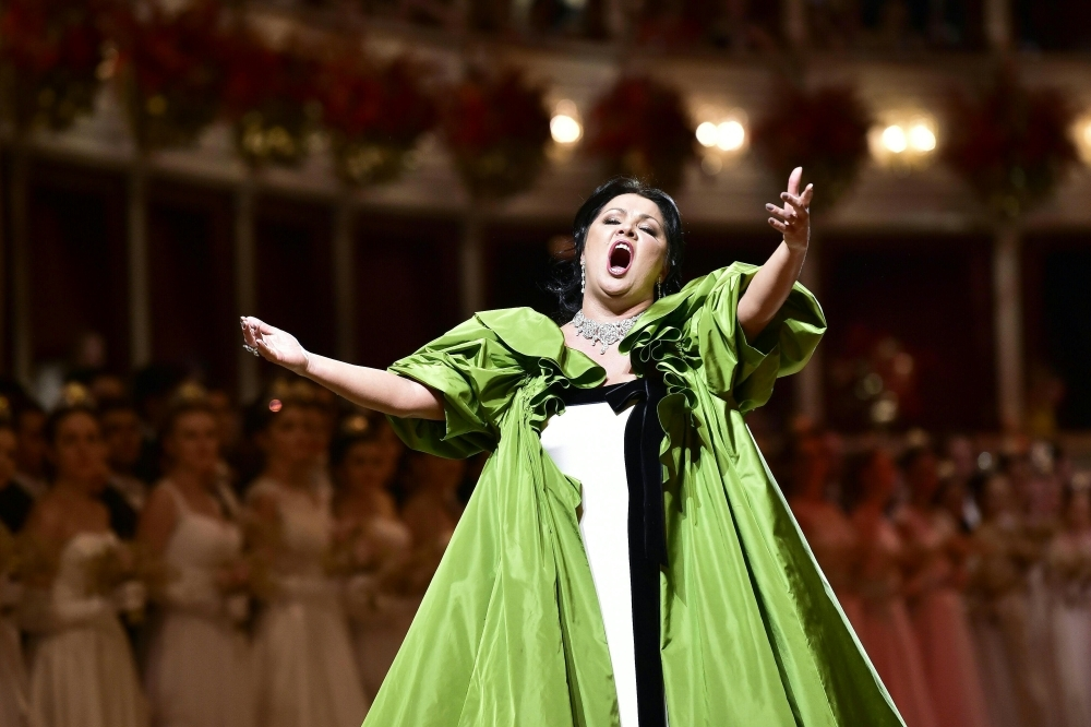 In this file photo taken on February 28, 2019 Russian soprano Anna Netrebko performs during the Vienna Opera Ball. -AFP