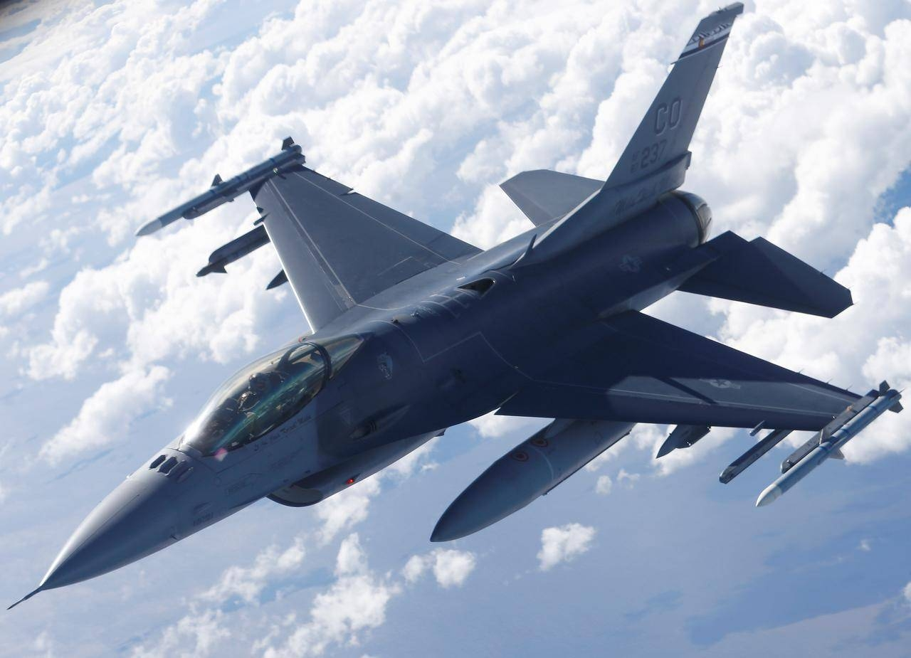 A U.S. Air Force F-16 fighter taking part in the U.S.-led Saber Strike exercise flies over Estonia on June 6, 2018. -Reuters
