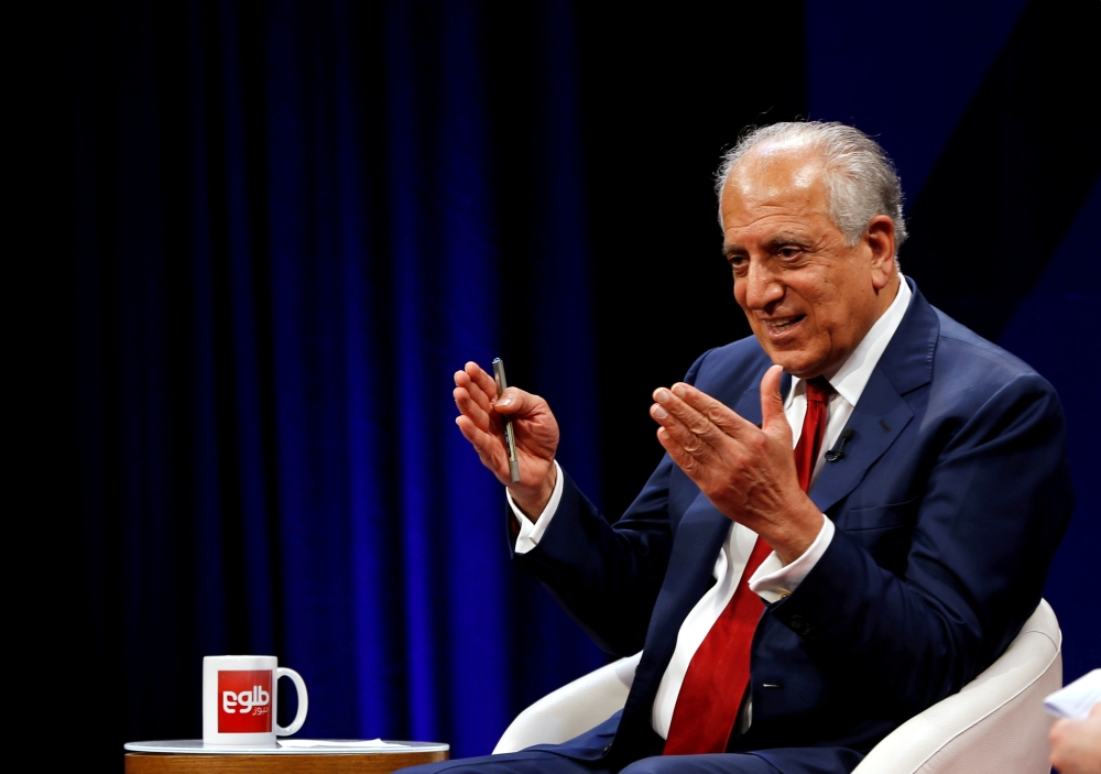 U.S. envoy for peace in Afghanistan Zalmay Khalilzad speaks during a debate at Tolo TV channel in Kabul, Afghanistan on April 28, 2019. -Reuters