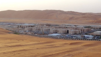 This file photo shows Shaybah, the base for Saudi Aramco's Natural Gas Liquids plant and oil production in the surrounding Shaybah field in Saudi Arabia's remote Empty Quarter desert close to the United Arab Emirates. A Yemeni rebel attack sparked a fire in the Saudi gas plant on Saturday but caused no casualties or disruption to production, state-owned energy company Saudi Aramco said. — AFP