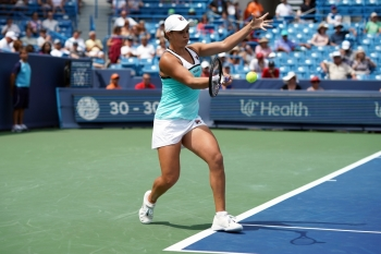 Ashleigh Barty (AUS) returns a shot against Maria Sakkari (GRE) during the Western and Southern Open tennis tournament at Lindner Family Tennis Center in Mason, OH, USA, on Friday. — Reuters