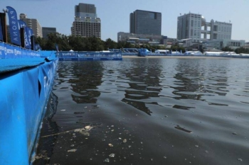 A view of the swimming venue of the ITU paratriathlon World Cup 2019, a paratriathlon test event for Tokyo 2020, on Saturday. — AFP