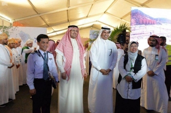 Minister of Transport and Chairman of the General Authority of Civil Aviation (GACA), Dr. Nabeel Al-Amoudi; GACA President Abdulhadi Al-Mansouri; and other officials at the launch of Eyab initiative in Jeddah. — SPA