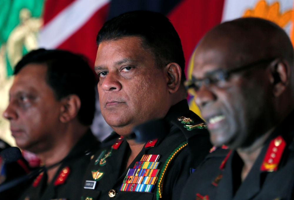 Chief of staff of Sri Lankan army Shavendra Silva, center, attends a news conference in Colombo, Sri Lanka, in this May 16, 2019 file photo. — Reuters