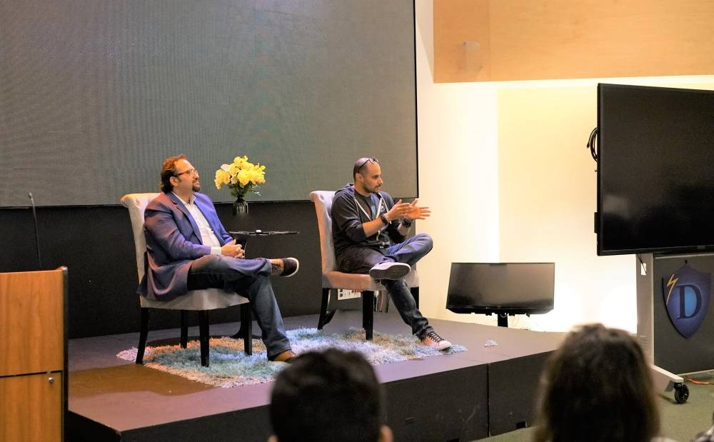 Prince Khaled Bin Alwaleed, right, is seen participating in an interactive session with Gulf students in Draper University in Silicon Valley. — Courtesy photo
