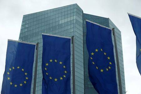 European Union flags flutter outside the European Central Bank (ECB) headquarters in Frankfurt, Germany, in this Dec. 14, 2017 file photo. — Reuters