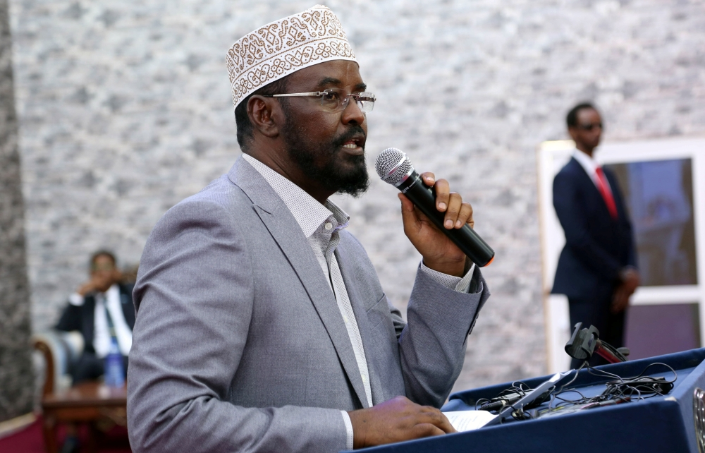 Ahmed Mohamed Madobe, the president of the breakaway Jubbaland region, addresses lawmakers after winning their presidential election, in the southern port town of Kismayu, Somalia, on Thursday. — Reuters