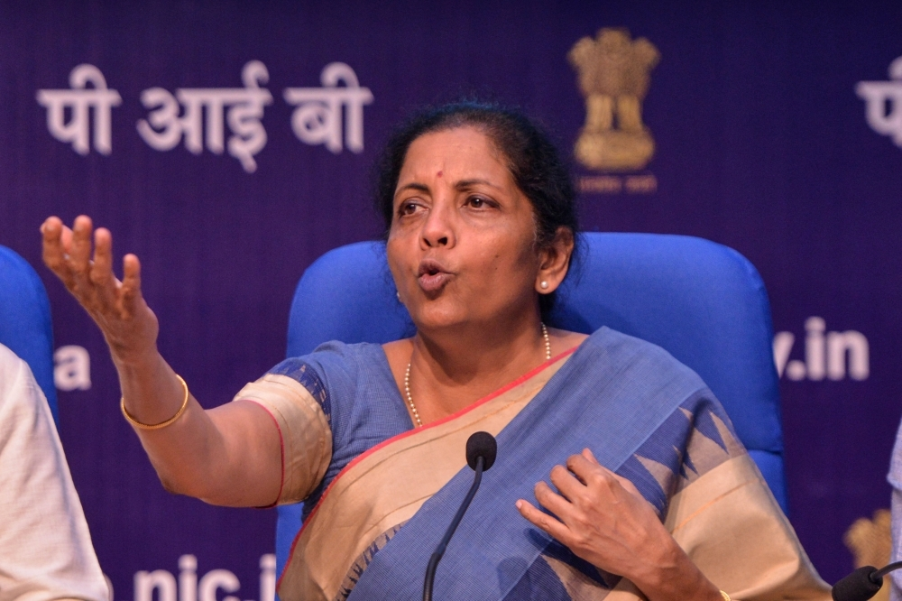 Indian Finance Minister Nirmala Sitharaman speaks during a press conference in New Delhi on Friday. — AFP