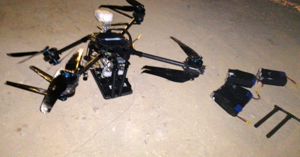 A handout picture released by the Lebanese General Directorate of General Security on August 25, 2019 reportedly shows one of two drones that came down over a media center of the Lebanese group Hezbollah in the south of the capital Beirut. AFP