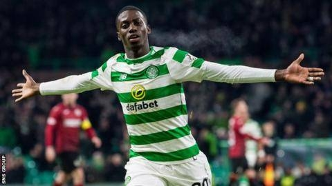 Vakoun Bayo strikes twice on his first start as Scottish champions Celtic beat Hearts 3-1, on Sunday. — Courtesy photo