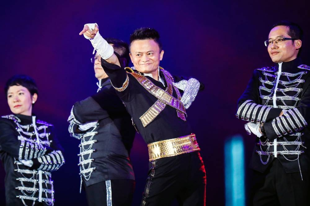 This file photo taken on Sept. 8, 2017 shows Jack Ma, chairman of Alibaba group, dancing to a medley of Michael Jackson songs during the Alibaba Annual Party at the Huanglong sports center in Hangzhou in China's eastern Zhejiang province. — AFP