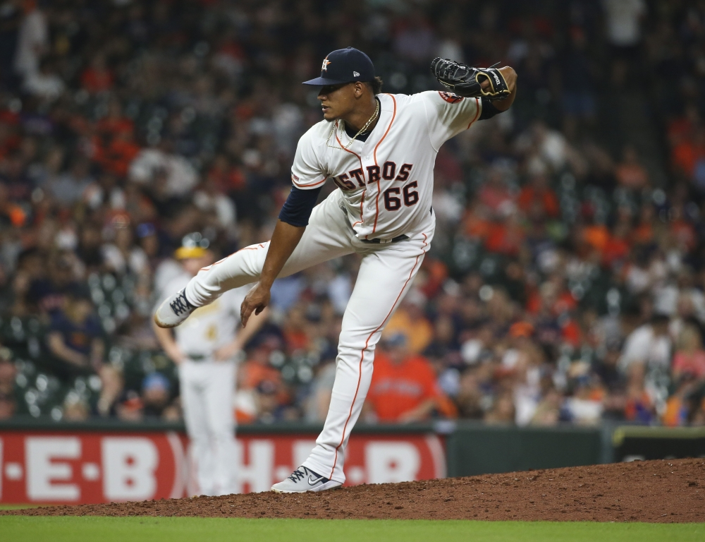 Houston Astros starting pitcher Bryan Abreu (66) delivers a pitch during the seventh inning against the Oakland Athletics at Minute Maid Park, Houston, TX, USA, on Monday. — Reuters