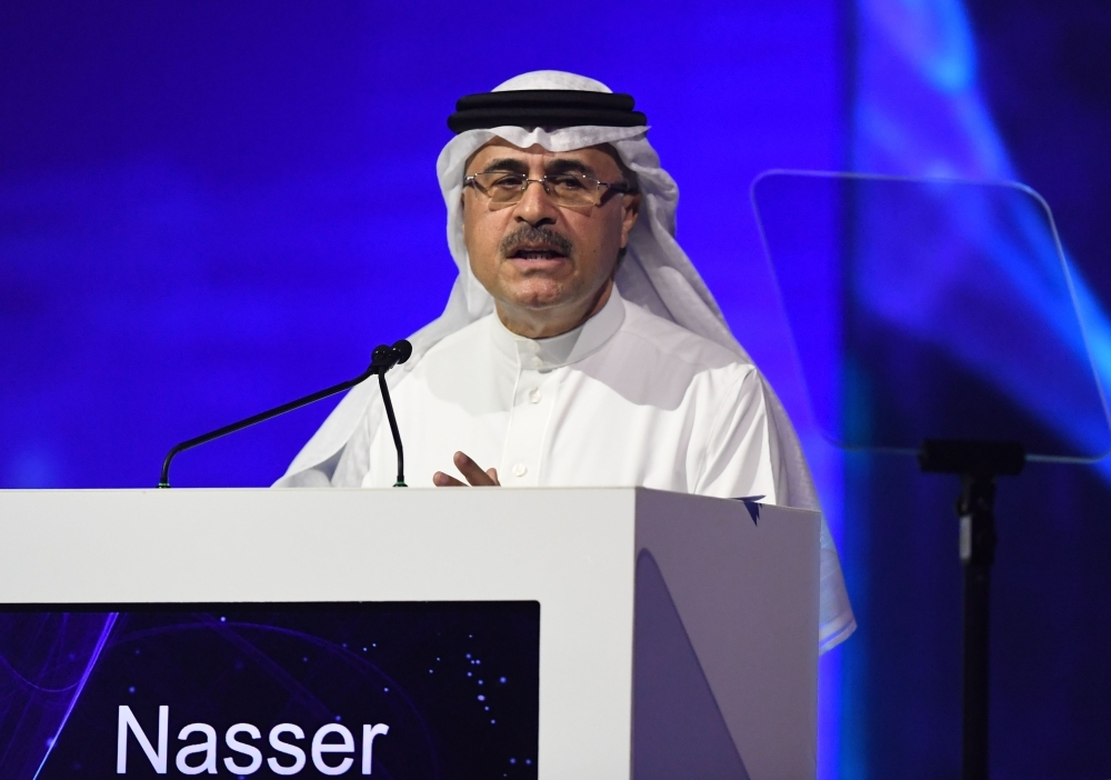 Aramco's CEO Amin Nasser speaks during the 24th World Energy Congress (WEC) in the UAE capital Abu Dhabi on Tuesday. Saudi energy giant Aramco is ready for a two-stage IPO but the timing is up to the government, Nasser said, flagging a possible foreign listing as part of the offering. — AFP