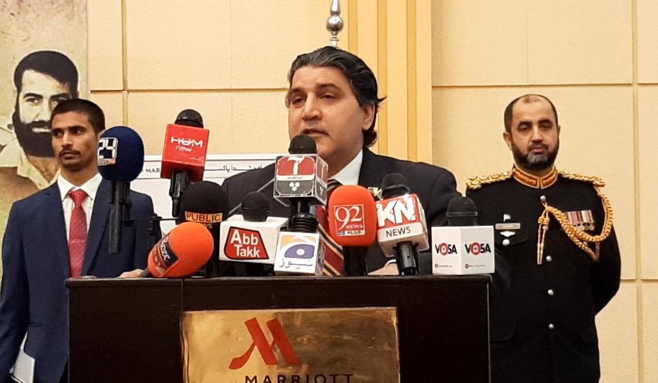 Pakistani Ambassador Raja Ali Ejaz addresses the gathering.