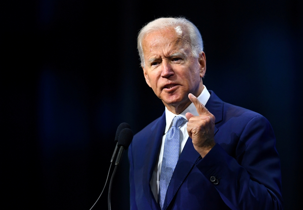 Democratic 2020 US presidential candidate and former US Vice President Joe Biden addresses the crowd at the New Hampshire Democratic Party state convention in Manchester, New Hampshire, US Sept.7, 2019.— Reuters