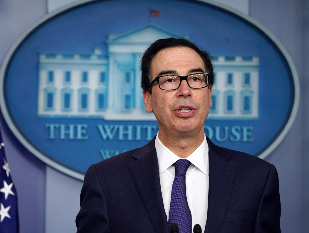 US Treasury Secretary Steven Mnuchin briefs the media at the White House in Washington in this Sept. 10 2019 file