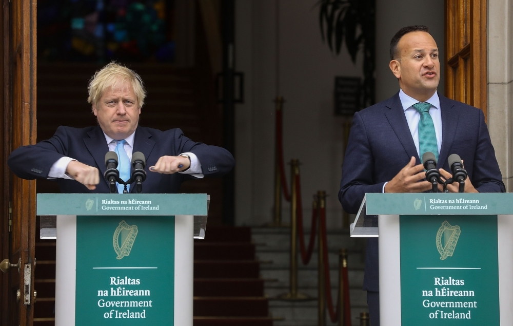Irish Prime Minister Leo Varadkar, right, and Britain's Prime Minister Boris Johnson give a joint press conference on the steps of the Government buildings in Dublin in this Sept. 9, 2019 file photo. — AFP