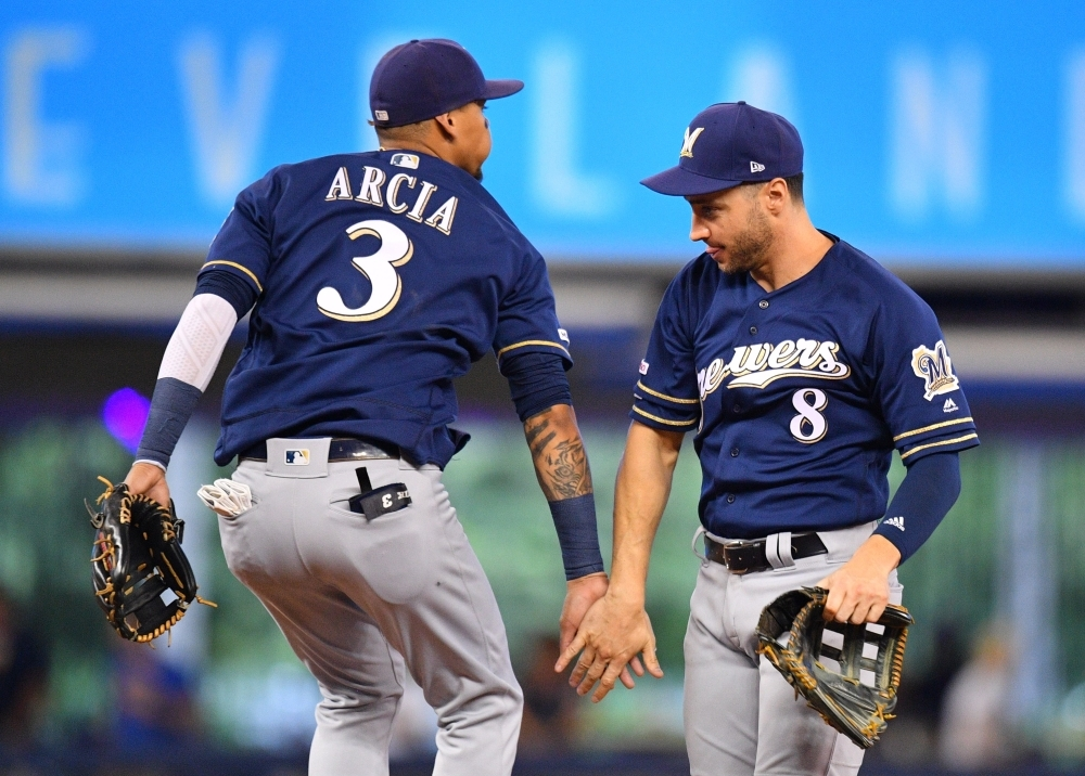 Ryan Braun wears Christian Yelich's jersey under his own in latest victory