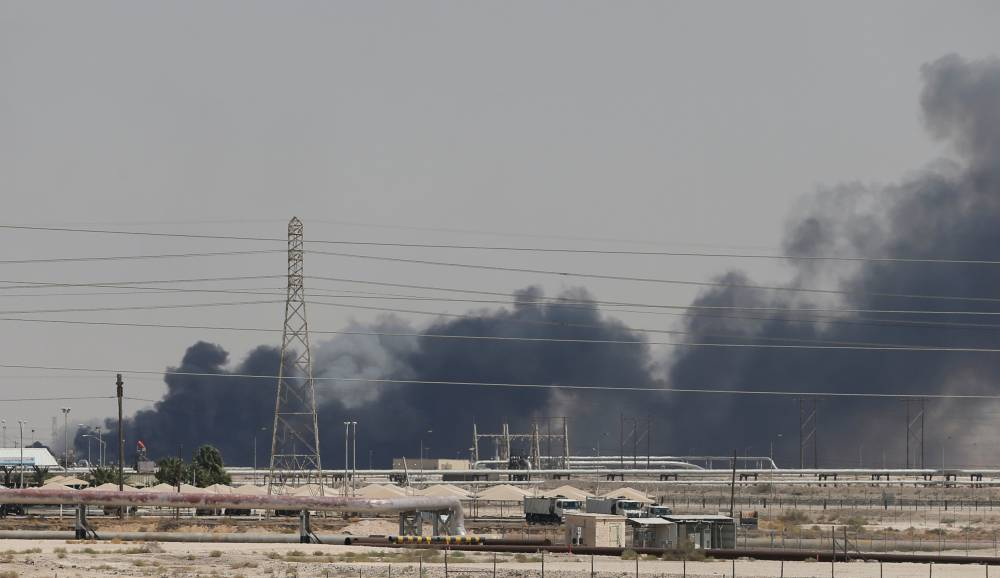 Smoke is seen following a fire at Aramco facility in the eastern city of Abqaiq, Saudi Arabia, on Saturday. — Reuters