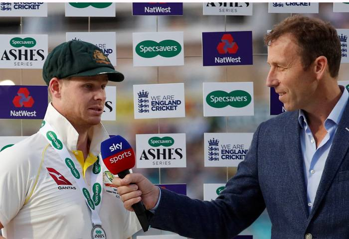 Australia's Steve Smith is interviewed by Michael Atherton during the end of series presentation at Kia Oval, London, Britain, on Sunday. — Reuters