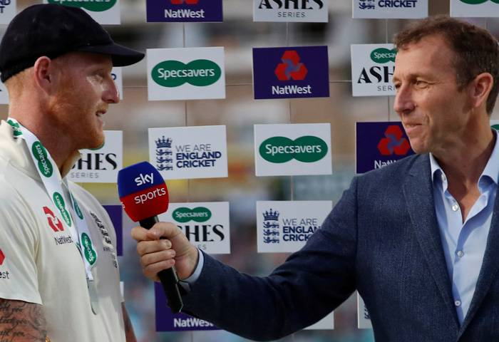 England's Ben Stokes is interviewed by Michael Atherton during the end of series presentation at Kia Oval, London, Britain, on Sunday. — Reuters