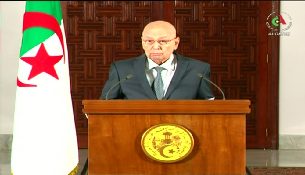 An image grab from the Algerian national television channel on September 15, 2019, shows Algerian interim President Abdelkader Bensalah addressing the nation. Bensalah announced that the Algerian presidential elections will take place on December 12, 2019. -AFP