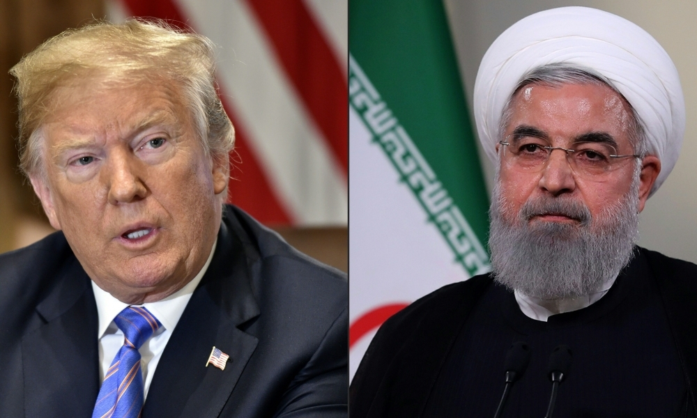 This combination of file pictures created on July 23, 2018 shows US President Donald Trump during a Cabinet meeting on July 18, 2018, at the White House in Washington, DC, and a file handout picture provided by the Iranian presidency on May 2, 2018 on showing President Hassan Rohani giving a speech on Iranian TV in Tehran. — AFP