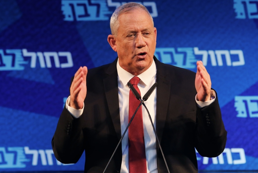 Retired Israeli General Benny Gantz, one of the leaders of the Blue and White (Kahol Lavan) political alliance, attends a campaign event in the Israeli coastal city of Tel Aviv Israel on Sunday. — AFP
