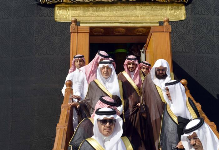 On behalf of Custodian of the Two Holy Mosques King Salman, Prince Khaled Al-Faisal, emir of Makkah and advisor to Custodian of the Two Holy Mosques, led the ceremonial washing of the Holy Kaaba on Monday.