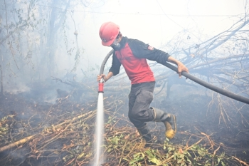 An Indonesian firefighter extinguishes a fire in Kampar on Monday. -AFP