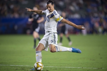 Zlatan Ibrahimovic (9) shoots for a goal during the second half against Sporting Kansas City at StubHub Center, Carson, CA, USA. — Reuters