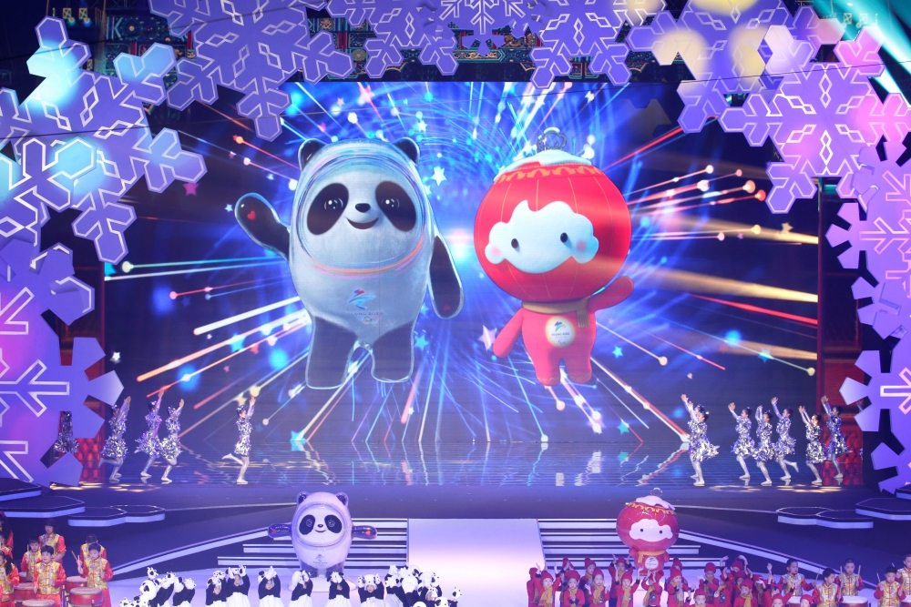 Mascots for the 2022 Olympic and Paralympic Winter Games are unveiled during a launch ceremony at the Shougang Ice Hockey Arena in Beijing, China, on Tuesday. — Reuters