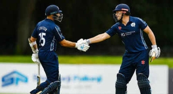 Scotland records the third-highest stand in international T20 history as George Munsey and Kyle Coetzer (L) put on 200 in their side's 58-run win over Netherlands, on Monday. — Courtesy photo