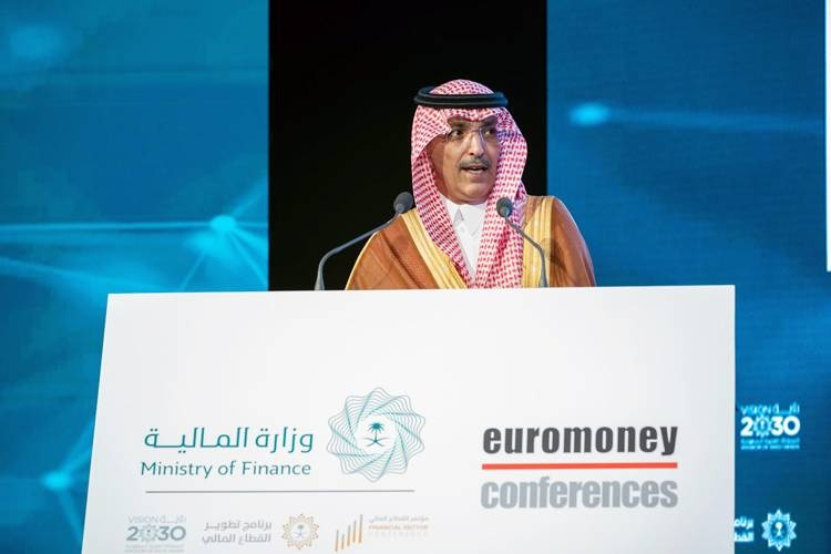 Minister of Finance Mohammed Al-Jadaan making a keynote speech after opening the Euromoney Saudi Arabia Conference 2019 in Riyadh on Wednesday.
