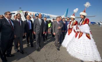 Inaugural flydubai flight to Almaty, Kazakhstan in 2014