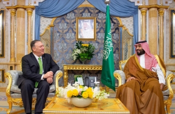 US Secretary of State Mike Pompeo meets with Crown Prince Muhammad Bin Salman in Jeddah on Wednesday. — Reuters