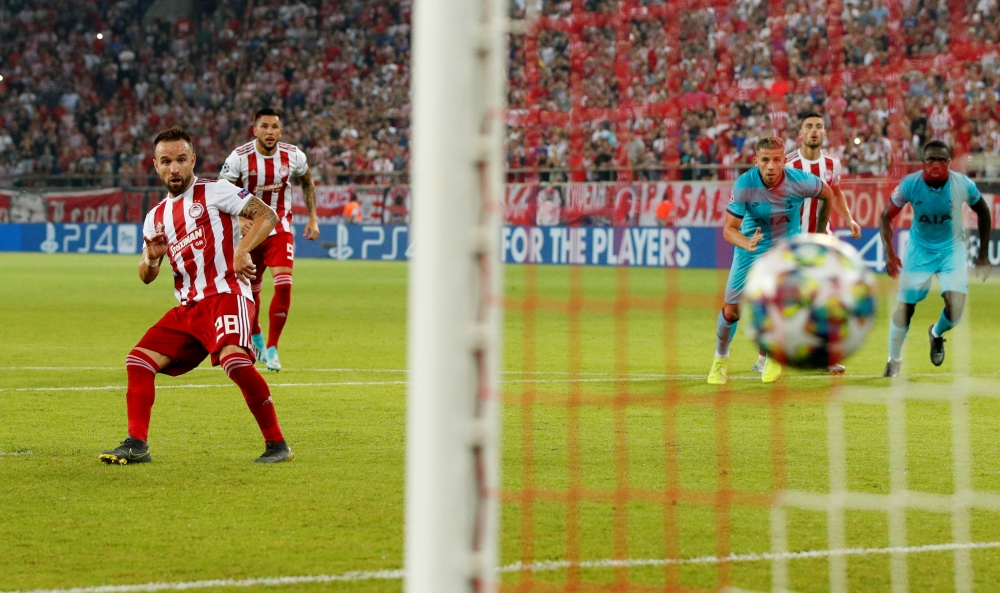 Olympiacos' Mathieu Valbuena scores their second goal from the penalty spot against Tottenham Hotspur in the Champions League Group B match at  Karaiskakis Stadium, Piraeus, Greece, on Wednesday. —Reuters