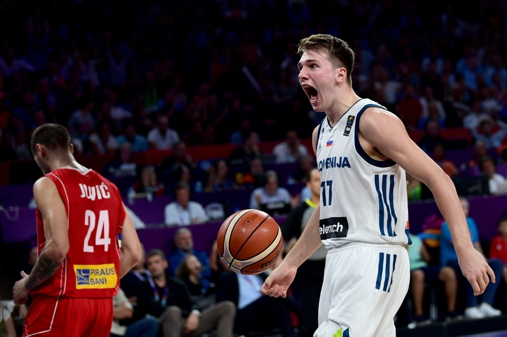 In this file photo taken on Sept. 17, 2017, Slovenia's guard Luka Doncic (R) reacts during the FIBA Eurobasket 2017 men's Final basketball match between Slovenia and Serbia at Sinan Erdem Sport Arena in Istanbul. NBA rookie of the year Luka Doncic could still go to the 2020 Olympics after Slovenia on Thursday secured one of the final places in the qualifying tournaments scheduled for next June. — AFP