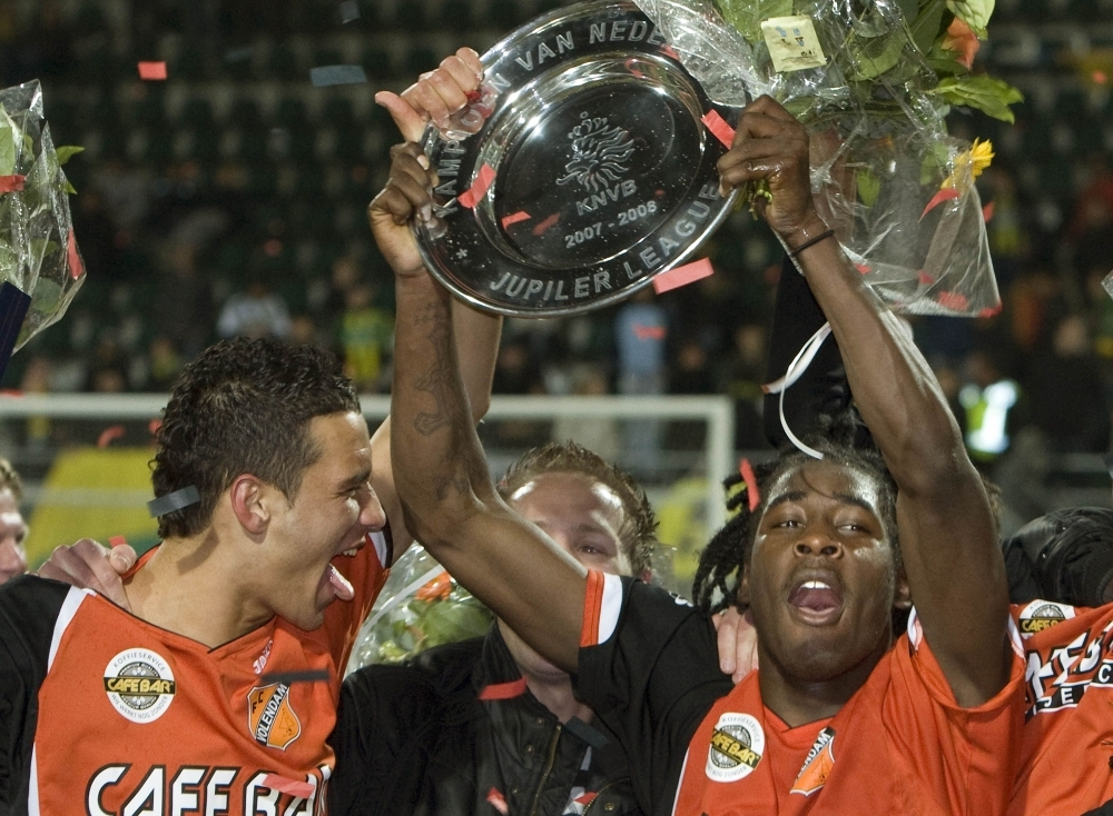 In this file photo taken on April 18, 2008, FC Volendam's Kelvin Maynard (R) celebrates winning the championship with his teammates. Former professional football player Maynard died on Wednesday in Amsterdam of the consequences of a shooting. — Reuters
