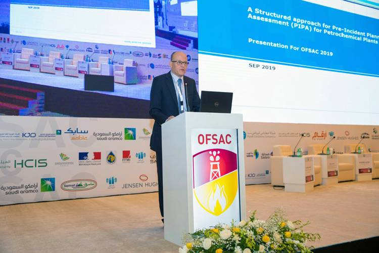 An expert speaks at a session in the Saudi International Oil Fire Safety Conference (OFSAC) 2019 in Riyadh.