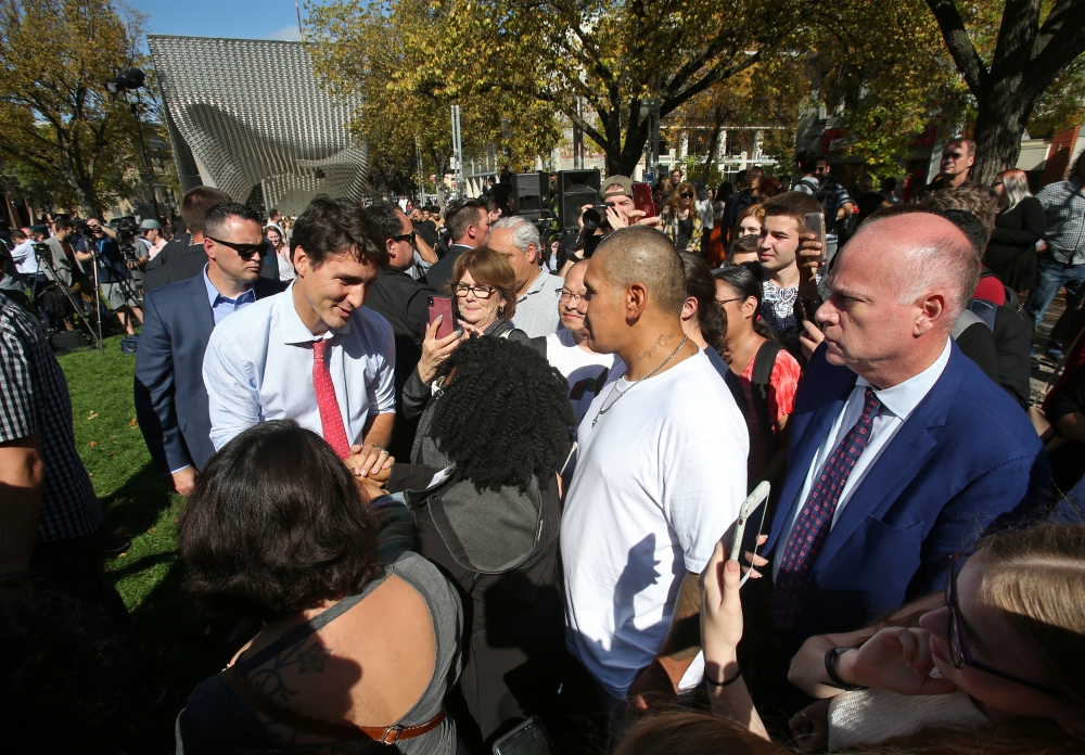 Canada's Prime Minister Justin Trudeau greets the people during an election campaign stop in Winnipeg, Manitoba, Canada, Thursday. — Reuters
