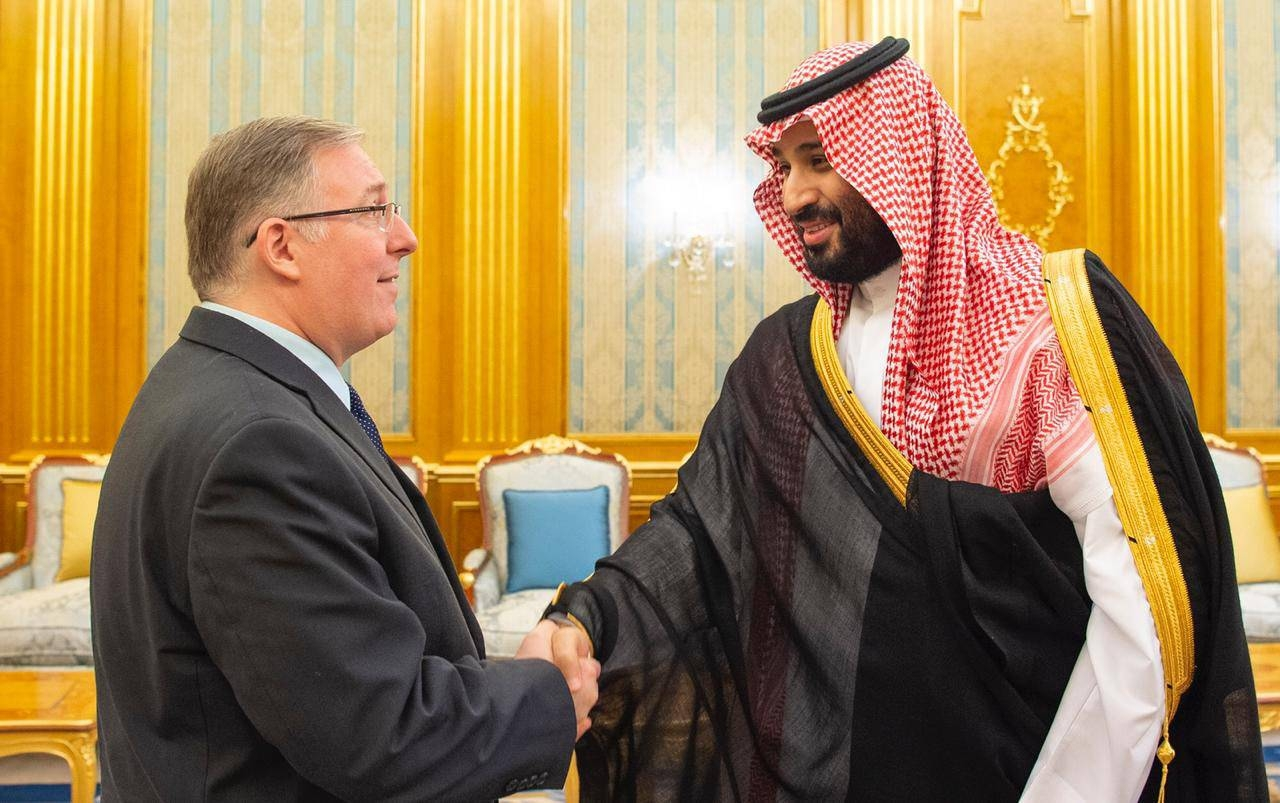 Crown Prince Muhammad Bin Salman, deputy premier and minister of defense, receives Joel C. Rosenberg, New York Times best-selling author and head of the Evangelical Delegation, during his recent visit to the Kingdom.
