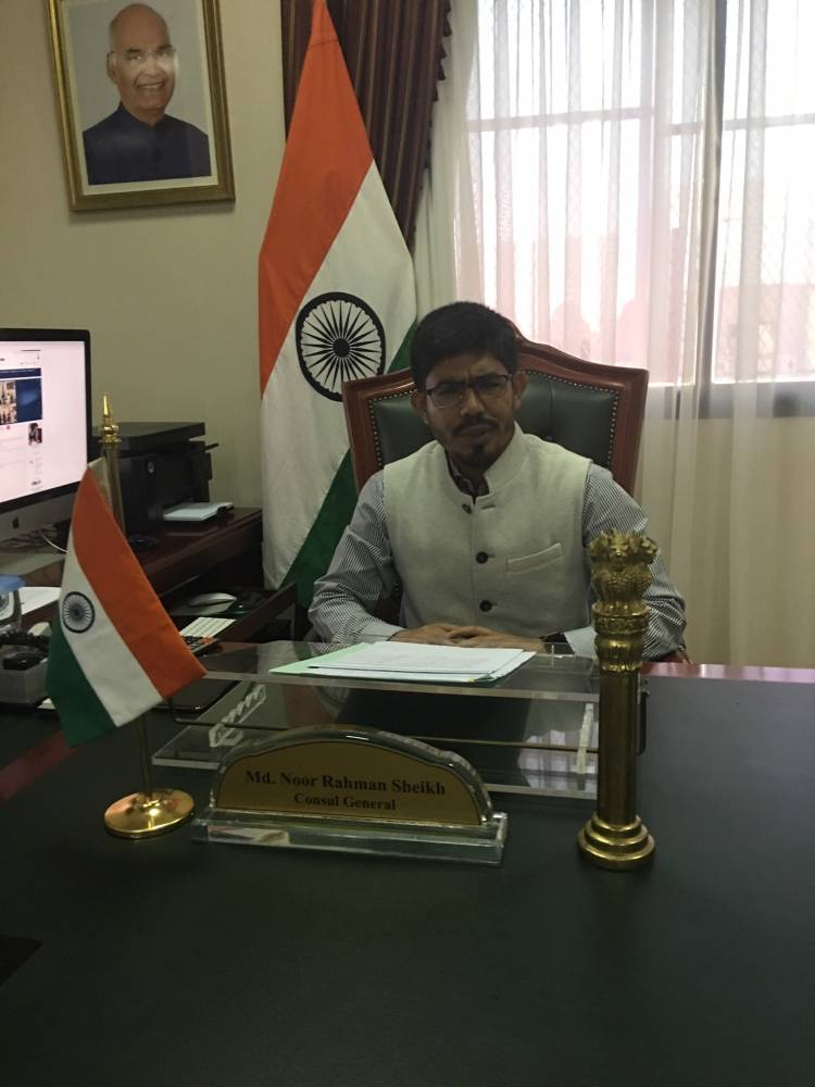 Indian Consul General Mohammed Noor Rahman Sheikh in his office in Jeddah.