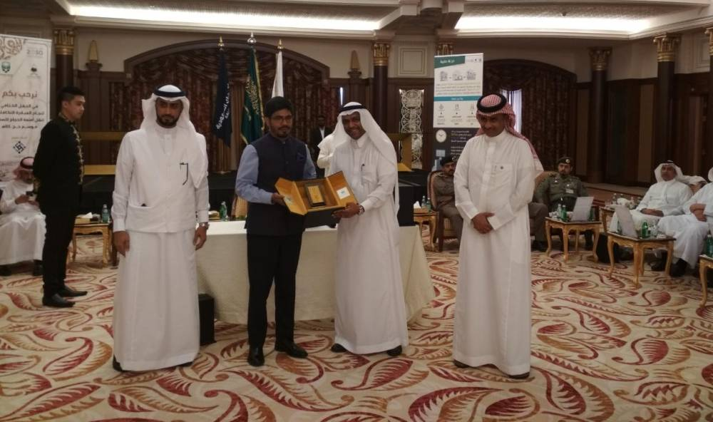 Deputy Minister of Haj Dr. Abdul Fattah Mashat presents a memento to Indian Consul General Mohammed Noor Rahman Sheikh during a recent function in Jeddah. — Courtesy photos