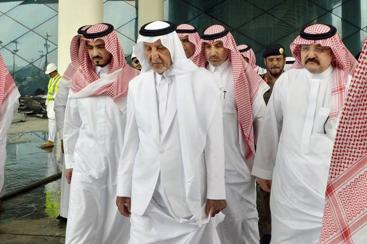 Emir of Makkah Khaled Al-Faisal, accompanied by Deputy Emir of Makkah Prince Badr Bin Sultan and Jeddah Governor Prince Mishal Bin Majed, inspecting the effects of fire at the Haramain High Speed Rail station in Sulaymaniyah district in Jeddah on Monday.