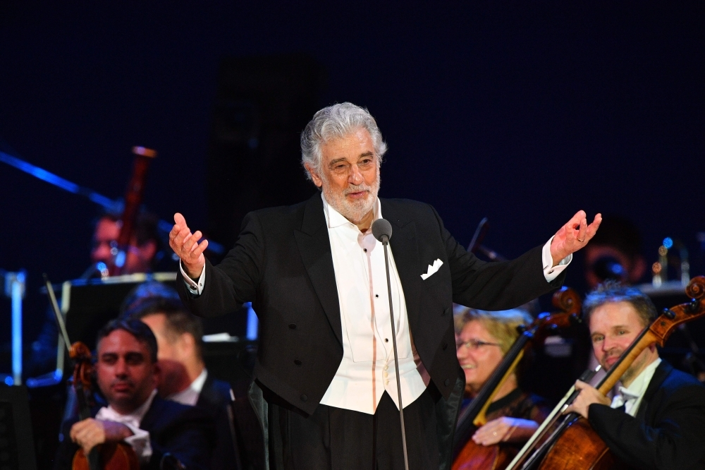Spanish tenor Placido Domingo performs during his concert in the newly inaugurated sports and culture centre 'St Gellert Forum' in Szeged, southern Hungary, on August 28, 2019. -AFP