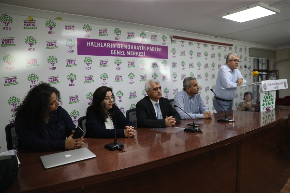 Members of the Peoples Democratic Party (HDP) take part in a meeting after public employees were issued with Decree Laws (KHK) within the framework of the state of emergency in Ankara on Friday. — AFP