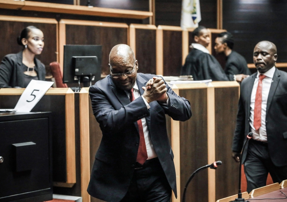 Former South African President Jacob Zuma is pictured at the High Court, where he is seeking a permanent stay of prosecution on charges of corruption, in Pietermaritzburg, South Africa, on Friday. — AFP