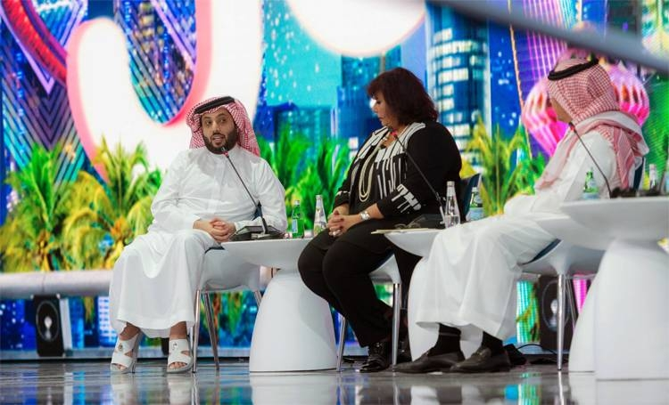 Turki Al-Sheikh, chairman of the General Entertainment Authority and head of the Riyadh Season, left, speaking during one of the sessions at the Joy Entertainment Industry Forum in Riyadh on Sunday. Okaz/SG photo by Sami Bugis