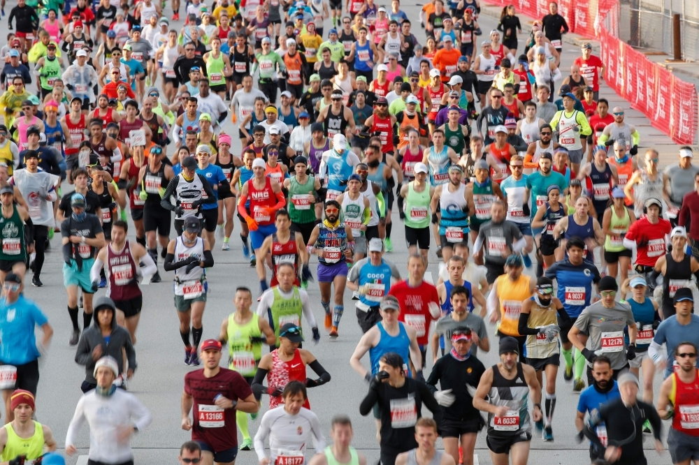 Runners compete during the 2019 Bank of America Chicago Marathon in Chicago, Illinois, on Sunday. — AFP